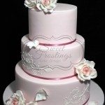 Romantic Dusty Pink Piped Wedding Cake