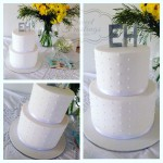 White Piped Christening Cake