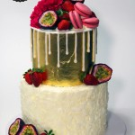 Gold Leaf Coconut Macaron Cake