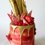 red marble drip cake